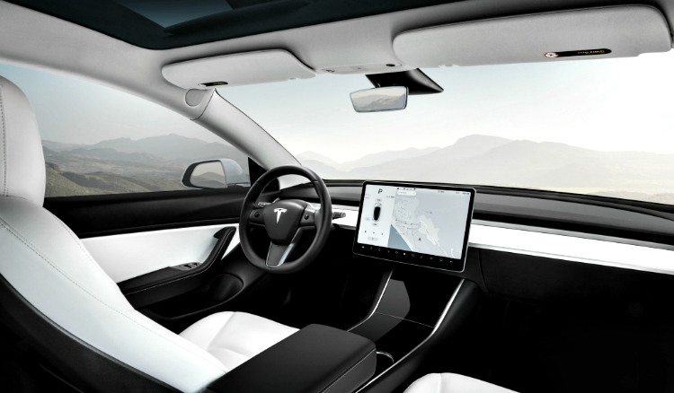 Interieur van de Tesla Model 3